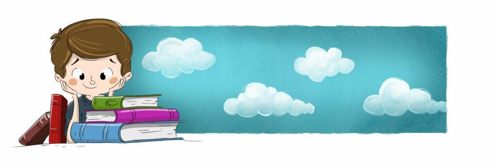 Junge liest personalisierte Kinderbücher