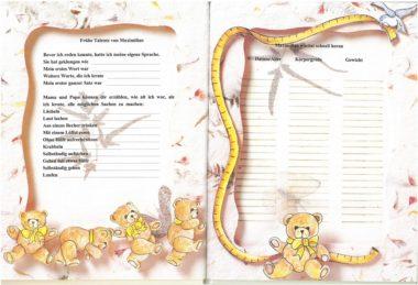 Leseprobe personalisiertes Babybuch Daten vom Baby - Gewicht