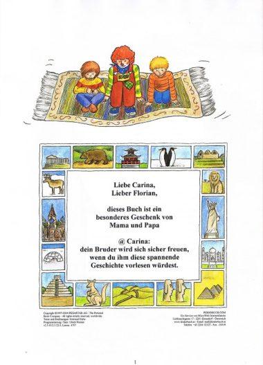 personalisiertes Weltreisebuch - Widmungsseite
